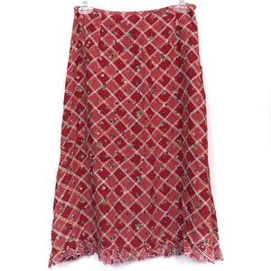 FREE PEOPLE Red Floral Plaid Embroidered Skirt